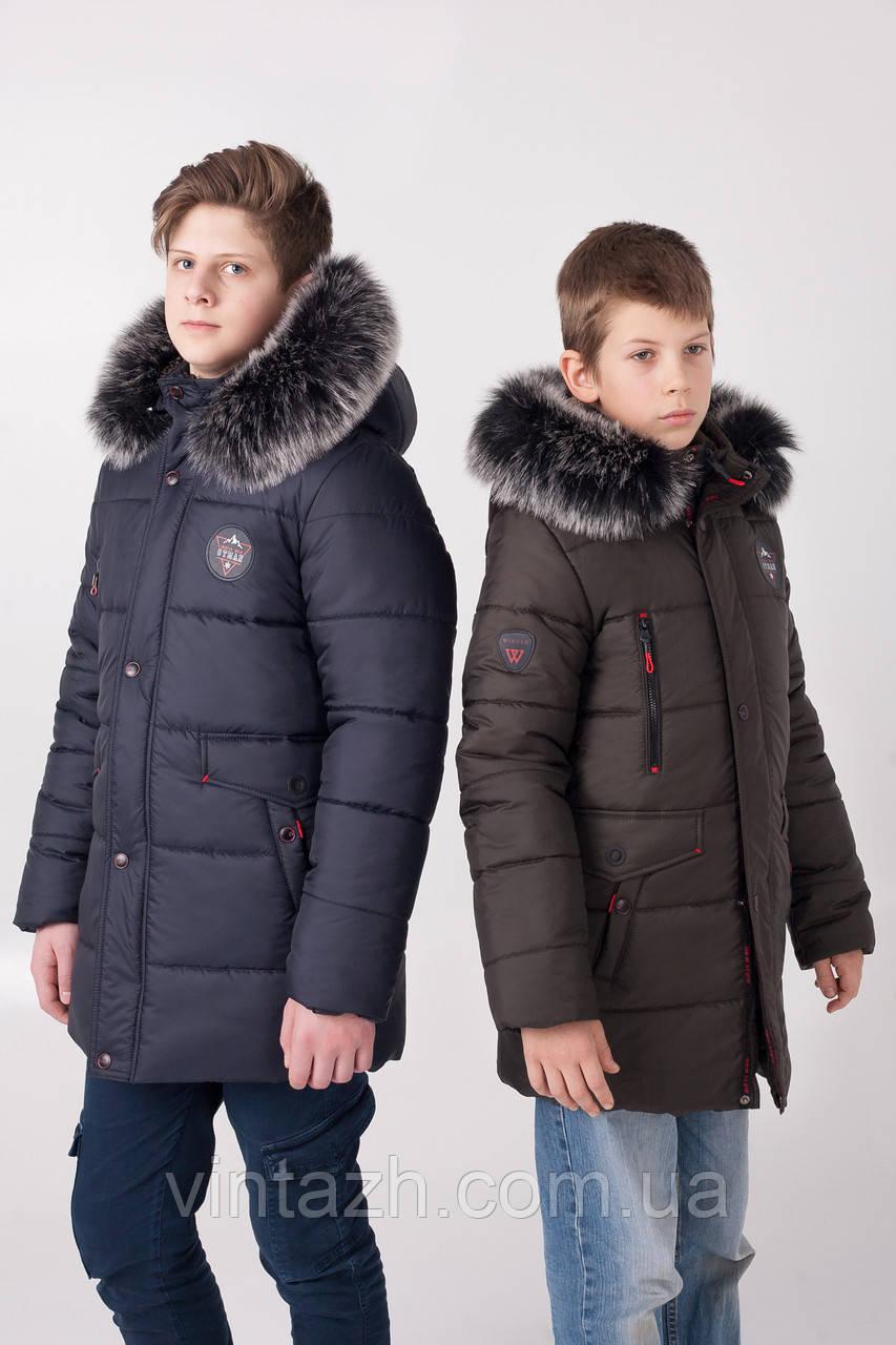 Удлиненная зимняя куртка на мальчика размеры 130-165