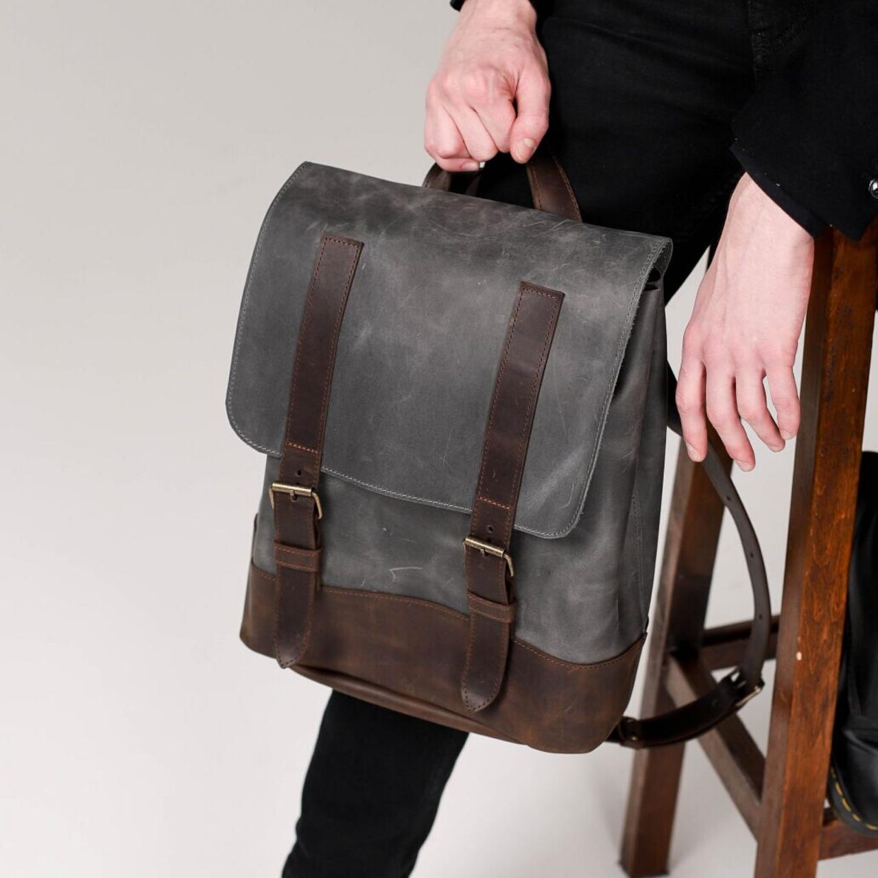 Чоловічий рюкзак з натуральної шкіри сірого кольору. Чоловічій шкіряний рюкзак. Чоловічий рюкзак