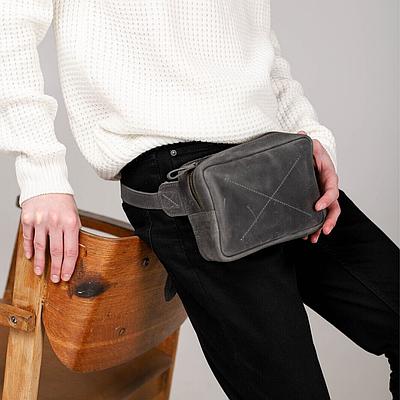 Мужская сумка из натуральной кожи серого цвета. Мужская сумка на пояс. Чоловіча сумка із натуральной шкіри