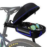 Багажник под седло West Biking 0707151 Black + Blue для велосипеда с отражателями + чехол, фото 4
