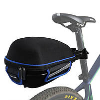 Багажник под седло West Biking 0707151 Black + Blue для велосипеда с отражателями + чехол, фото 5
