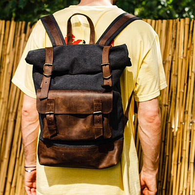 Чоловічий рюкзак з натуральної шкіри коричневого кольору. Чоловічій шкіряний рюкзак. Чоловічий рюкзак