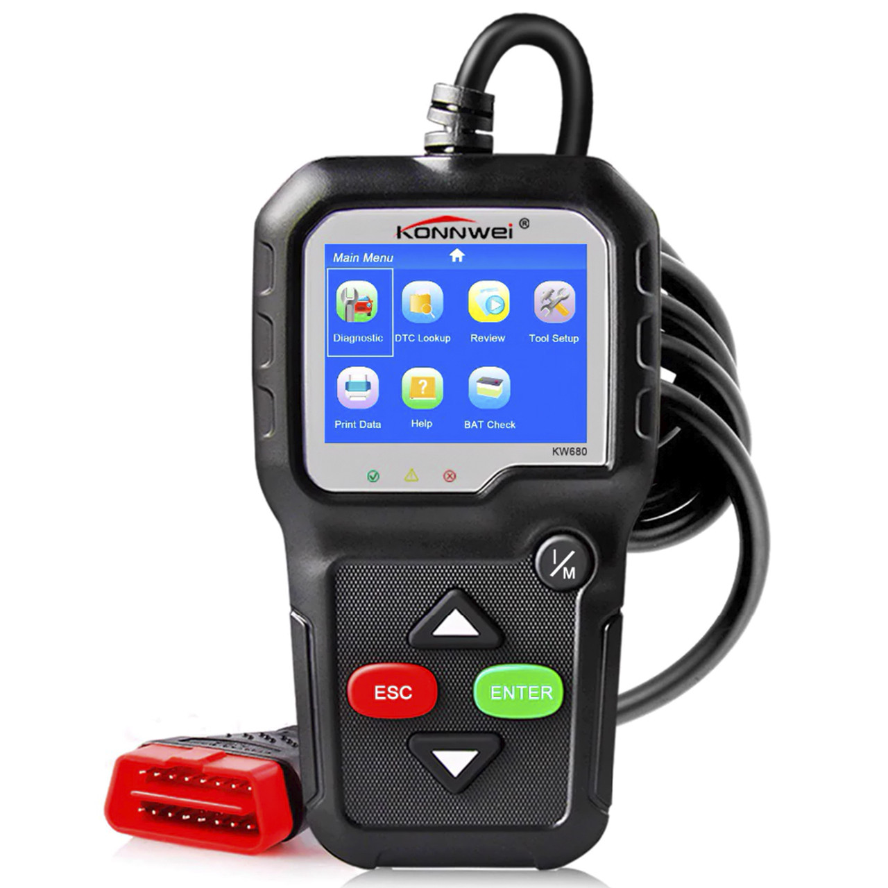 "Диагностический адаптер KONNWEI KW680 2.4"" экран OBD2 XP WIN7 WIN8 WIN10 определение напряжения батареи"