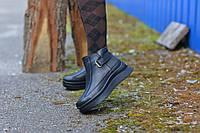 Ботинки черные  натуральная кожа на танкетке