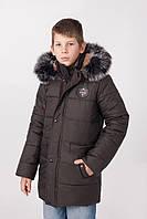 Зимняя теплая куртка на мальчика с мехом  размеры 130-165