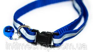 Нашийник для котів світловідбиваючий і з дзвіночком 30 см Синій, з доставкою