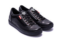 Мужские кожаные кеды Vans Clasic Black (реплика). Мокасины, кеды повседневные. Мужская обувь