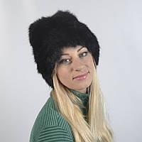 Женская шапка из натурального меха на вязанной шапке - Кролик (код 29-275)