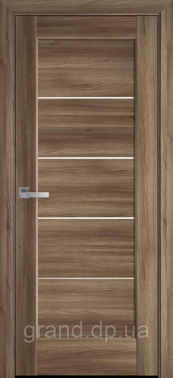 Межкомнатные двери Новый Стиль Мира ПВХ DeLuxe со стеклом сатин, цвет Золотой дуб