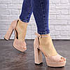 Женские пудровые босоножки на каблуке Madison 1607 (40 размер)