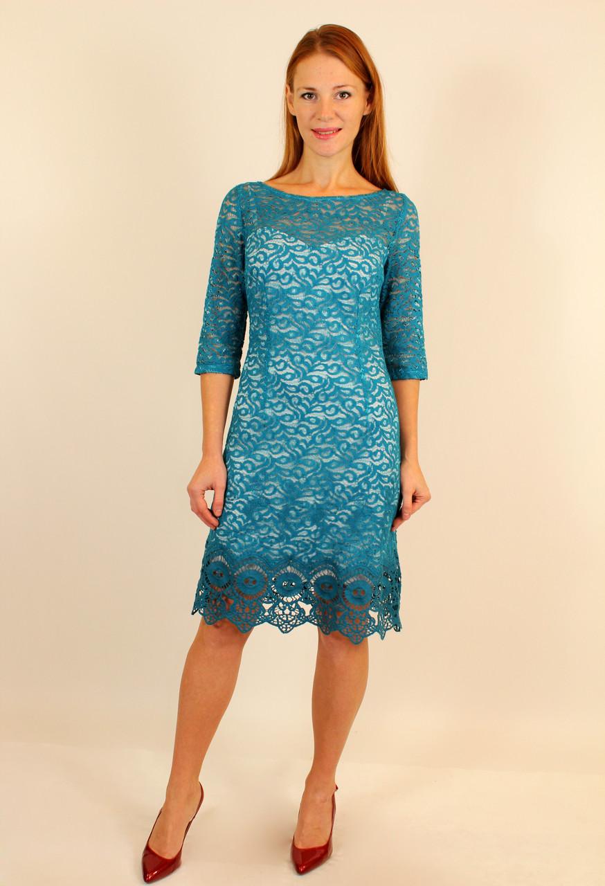 Платье короткое с гипюром 46 р