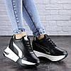 Женские стильные черные кроссовки на танкетке Zeus 2038 (37 размер-23,5 см)
