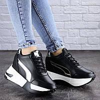 Женские стильные черные кроссовки на танкетке Zeus 2038 (37 размер-23,5 см), фото 1