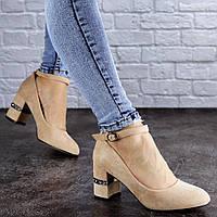 Женские туфли на каблуке бежевые Bruno 2086 (38 размер-24,5 см), фото 1