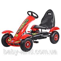 Детский педальный карт веломобиль на педалях с надувными колесами Bambi M 1450-3 Красный