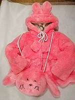 Куртка детская меховая с капюшоном + сумка