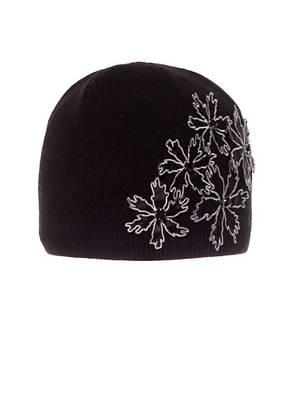 Стильная теплая вязаная женская шапка с красивой аппликацией и камушками, Польша., фото 2
