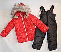 Детский зимний комбинезон для девочки 2, 3, 4 года красного цвета, фото 1