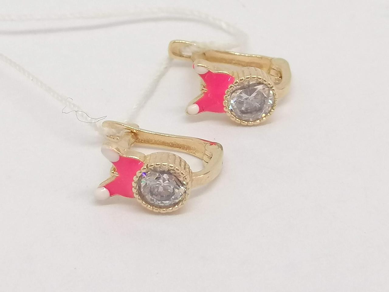 Золотые серьги с фианитами и эмалью. Артикул 105349