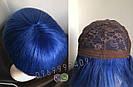 💎Натуральный синий парик. Каре с ярко синими волосами💎, фото 6