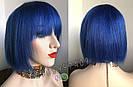 💎Натуральный синий парик. Каре с ярко синими волосами💎, фото 3
