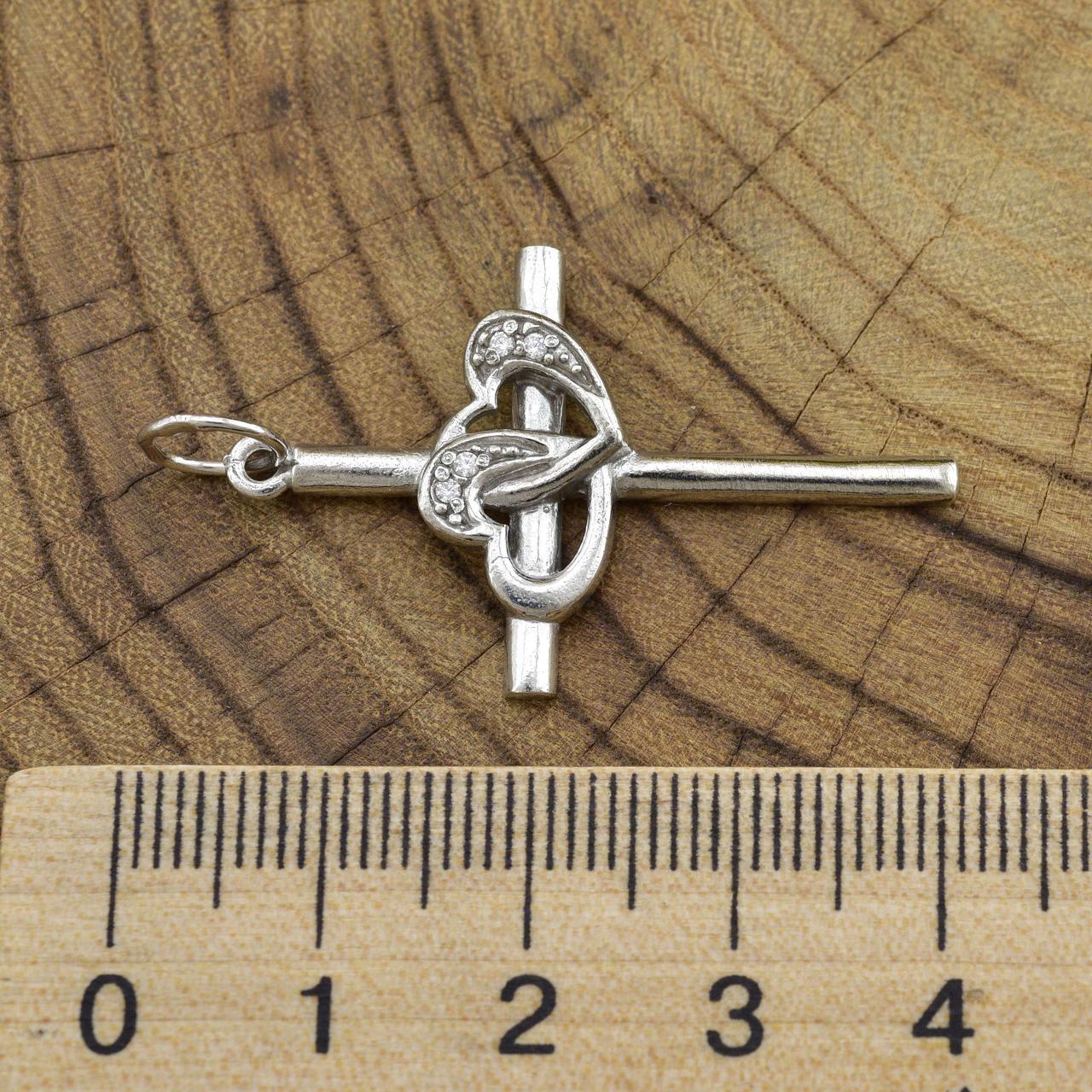 Серебряный крестик Джульета размер 40х23 мм белые фианиты вес 3.4 г