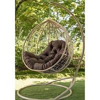 Подвесное кресло кокон Эко Премиум, из метала и искусственного ротанга бежевый (231279)