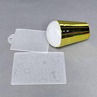 Силіконовий штамп + скрапер з візерунками + плпстина для стемпинга