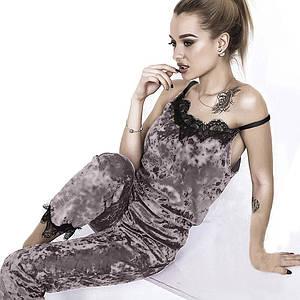 Велюровая пижама серая комплект майка и штаны с кружевом 1261622884 46