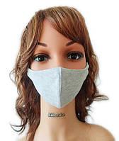 Маска защитная на лицо многоразовая (трикотаж) Silenta, Светло-Серый, фото 1