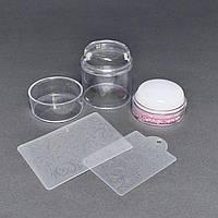 Штамп подвійний силіконовий для стемпинга + 2 скрапер-пластини з візерунками