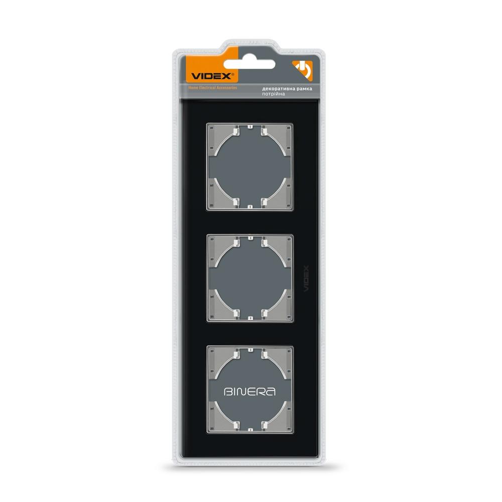 VIDEX BINERA Рамка черное стекло 3 поста горизонтальная (VF-BNFRG3H-B) 24770