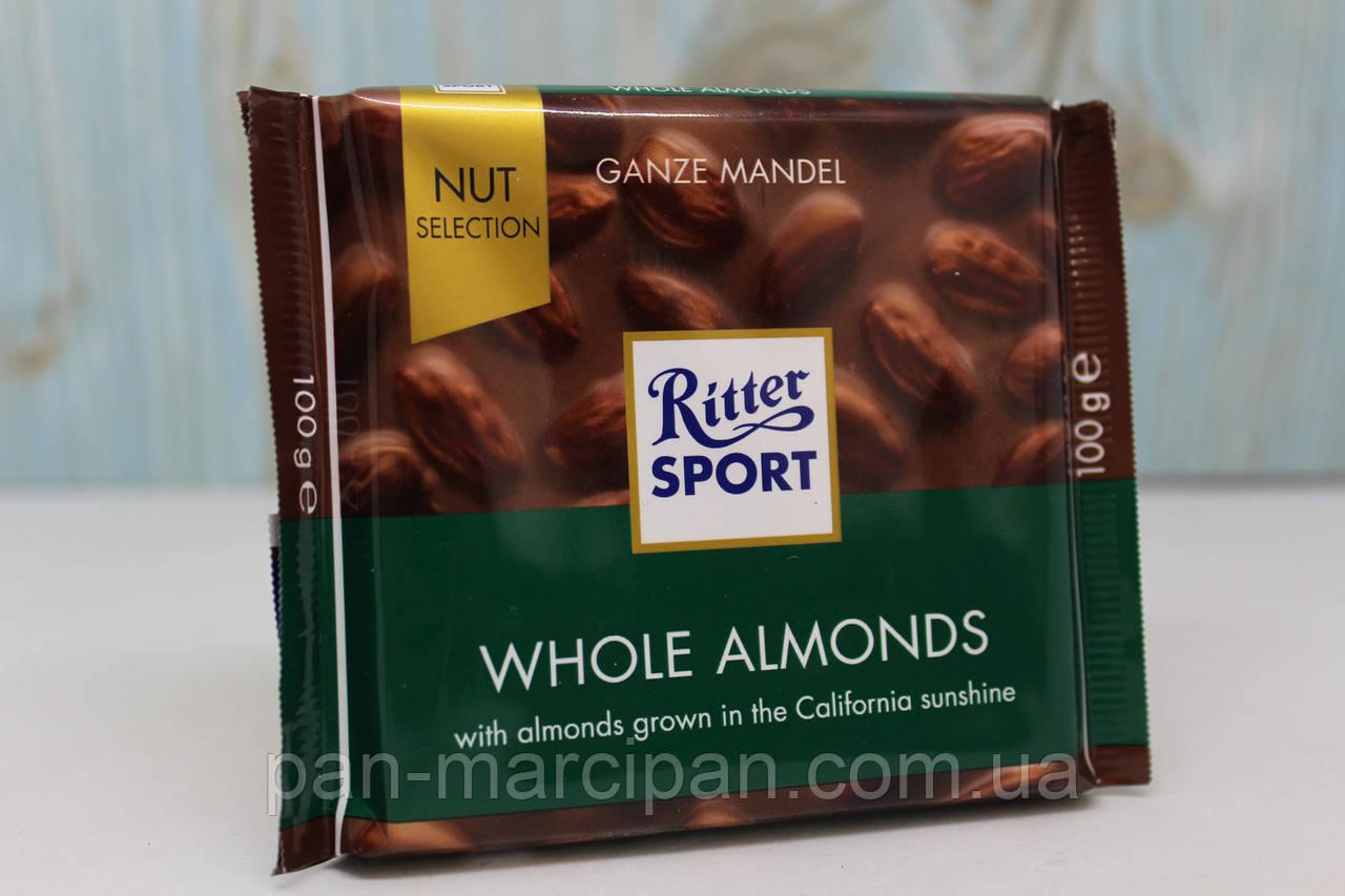 Шоколад Ritter sport (молочний з цілим мигдалем) 100г