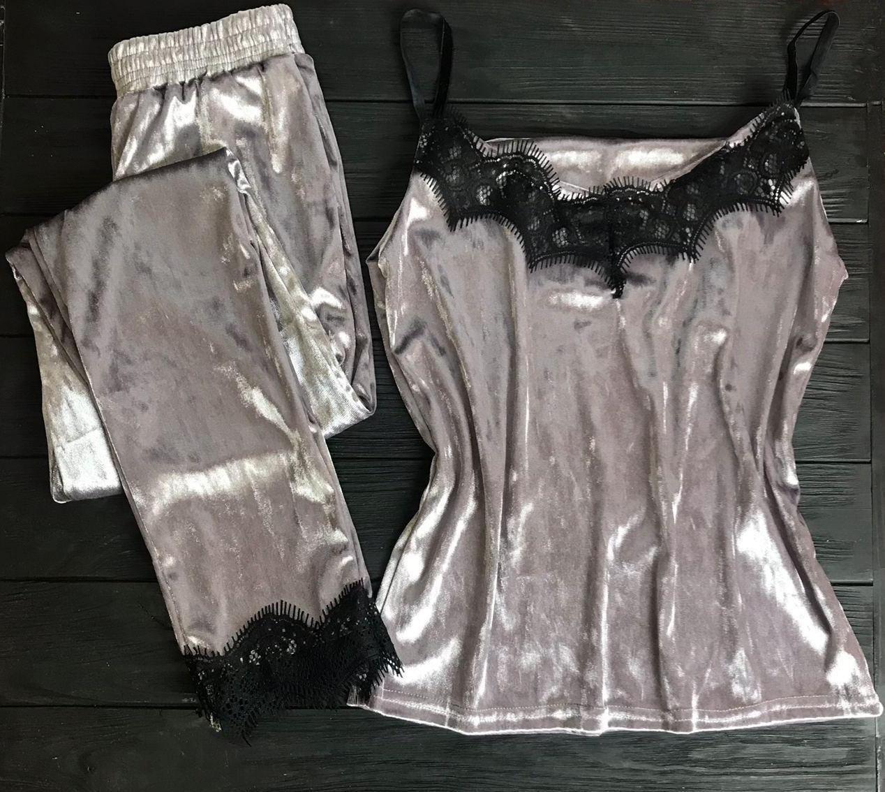 Велюровая пижама с кружевом BR-S майка и штаны серый 48 р. 1261622884