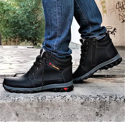 Ботинки ЗИМНИЕ Мужские Colamb!a  Кроссовки на Меху Чёрные (размеры: 40) Видео Обзор, фото 2