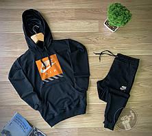 Мужской спортивный костюм Найк с капюшоном трикотажный черного цвета весна\лето\осень