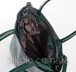 Удобная кожаная женская сумка для документов А4, 33*30*13см. Классическая. Натуральная кожа. Зеленая, фото 3