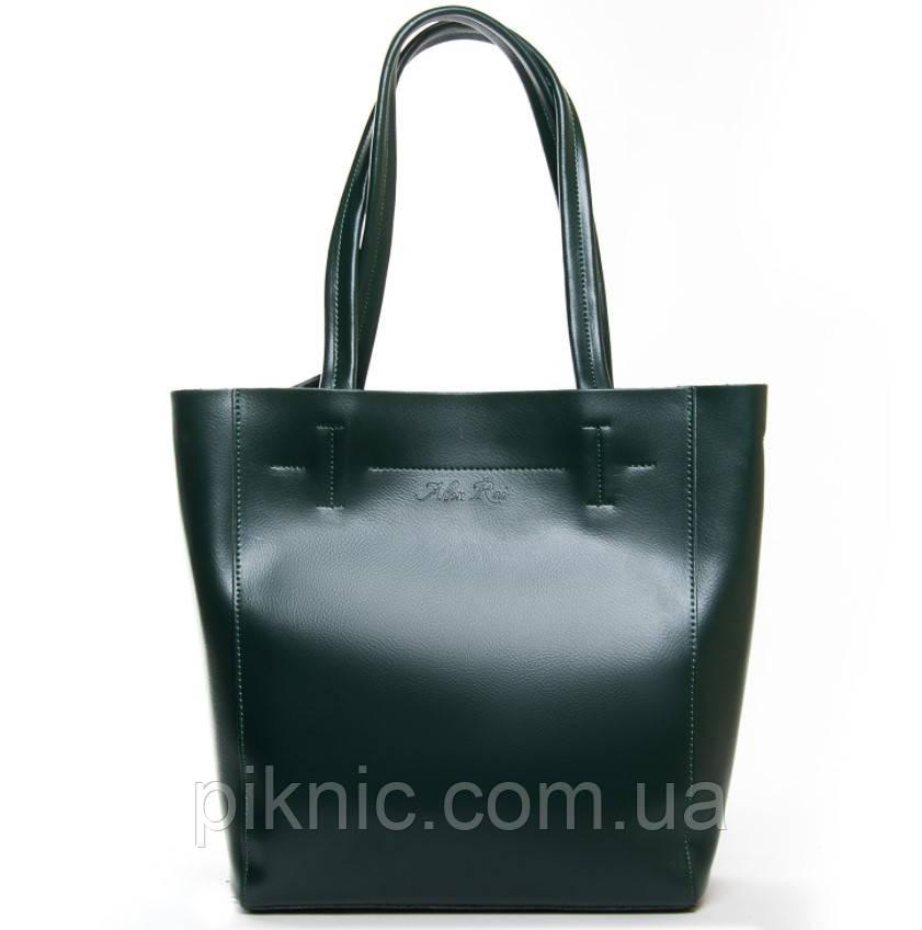 Удобная кожаная женская сумка для документов А4, 33*30*13см. Классическая. Натуральная кожа. Зеленая