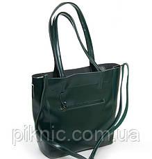 Удобная кожаная женская сумка для документов А4, 33*30*13см. Классическая. Натуральная кожа. Зеленая, фото 2