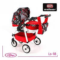 Кукольная коляска Lily SPORT TM Adbor Ls-18, красный, цветы на черном
