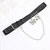 Женский эко-кожаный ремень черный с цепью цепочкой и декоративными подвесками крест бабочка звезда, фото 4