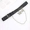 Женский эко-кожаный ремень черный с цепью цепочкой и декоративными подвесками крест бабочка звезда, фото 3
