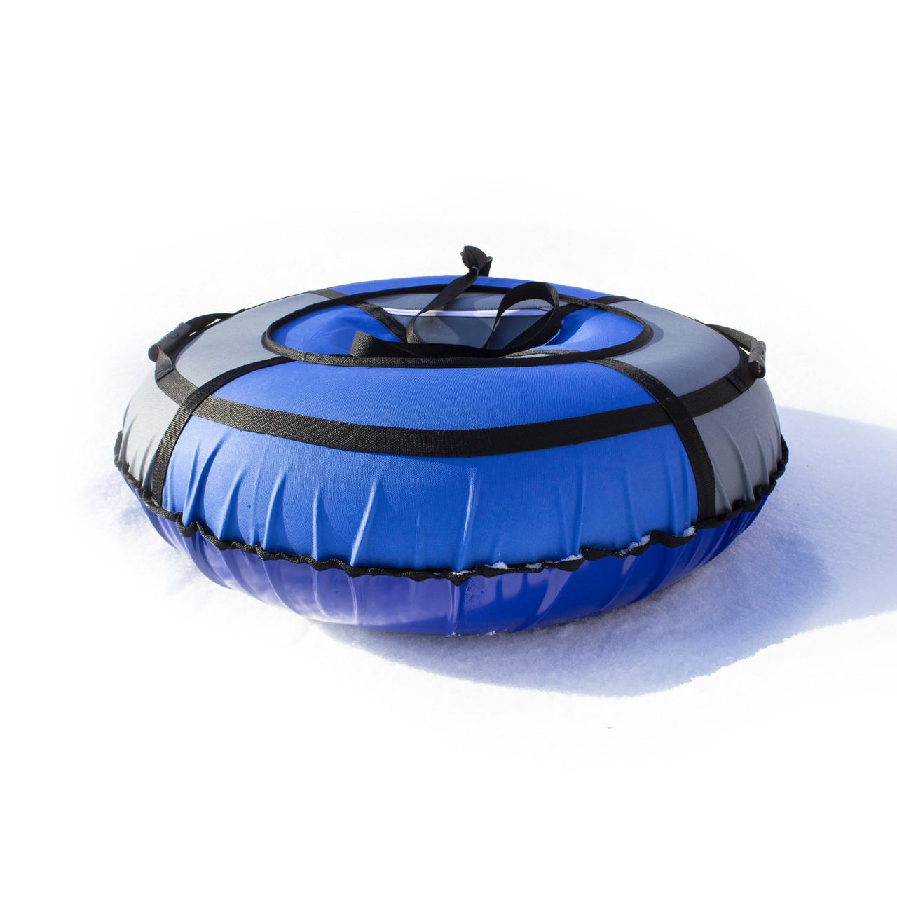 Тюбинг надувные санки ватрушка d 120 см серия Прокат Усиленная Сине - Серого цвета для детей и взрослых