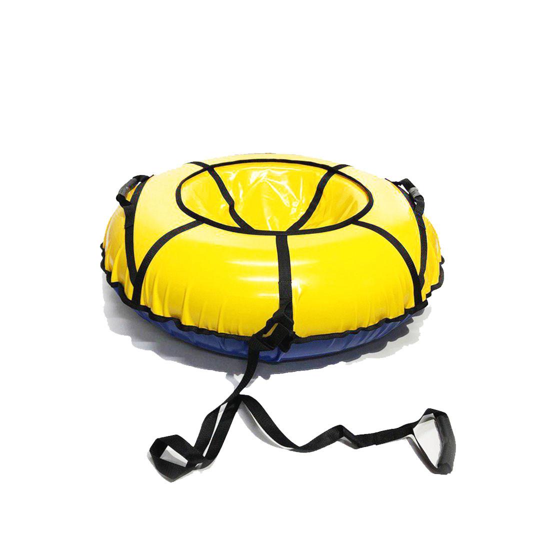 Тюбинг надувные санки ватрушка d 120 см серия Прокат Усиленная Желтого цвета для детей и взрослых