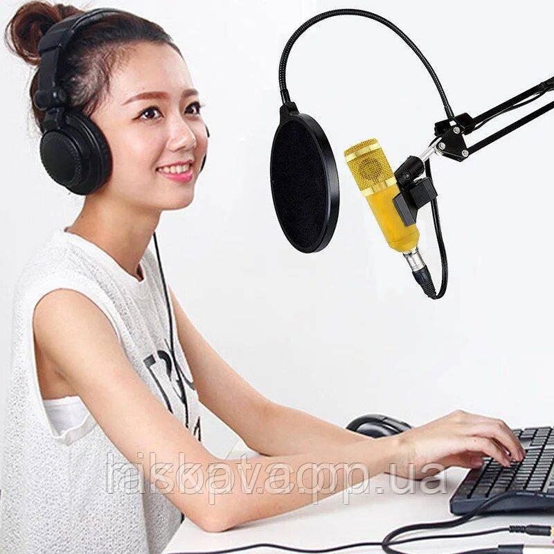 Микрофон студийный Music DJ M800U Студийный микрофон Music DJ M800U со стойкой и ветрозащитой Gold