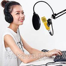 Мікрофон студійний Music DJ M800U Студійний мікрофон Music DJ M800U зі стійкою і вітрозахистом Gold