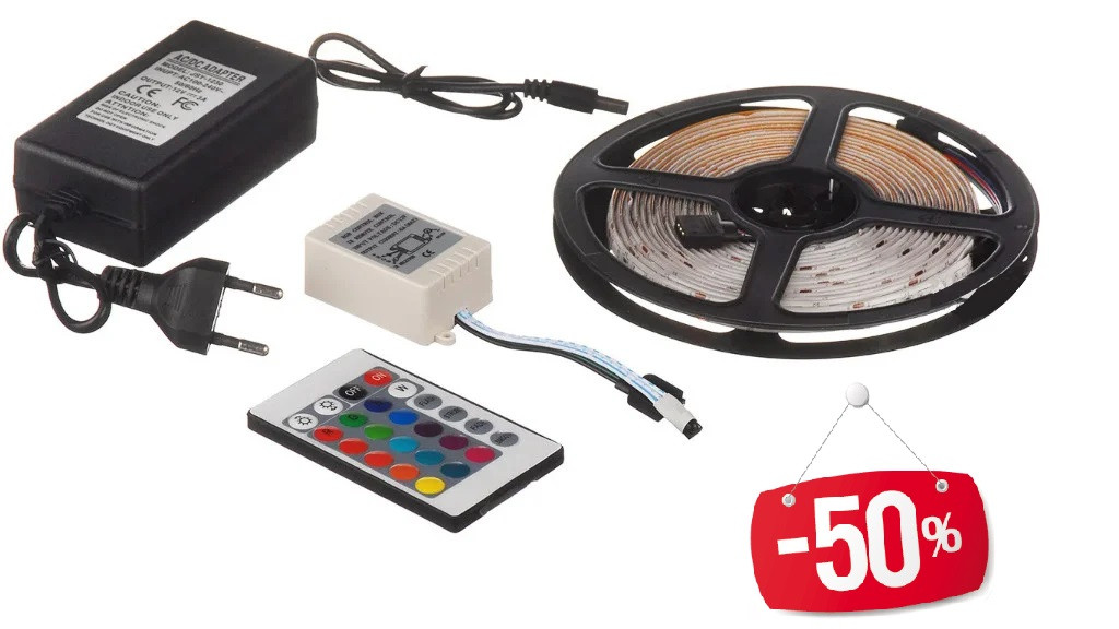 Стрічка світлодіодна (світлодіодна стрічка вологозахищена) SMD LED (багатобарвне) з пультом управління
