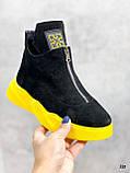 Только 41 р! Женские ботинки ДЕМИ/ осенние черные с желтым натуральная замша, фото 9