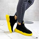 Только 41 р! Женские ботинки ДЕМИ/ осенние черные с желтым натуральная замша, фото 6
