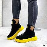 Только 41 р! Женские ботинки ДЕМИ/ осенние черные с желтым натуральная замша, фото 3